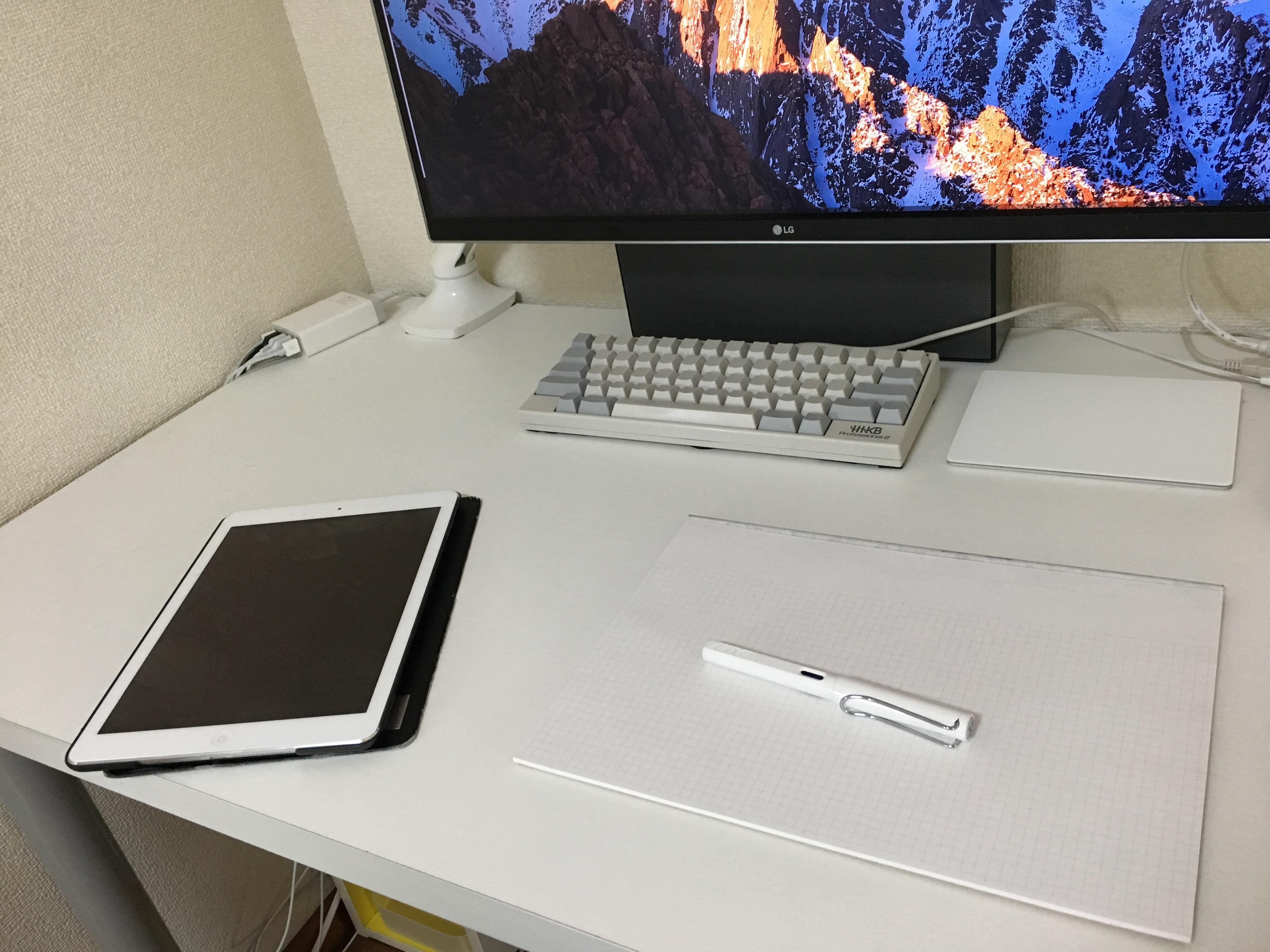 タブレットとメモ帳を置いた所、机の奥行きは59cm