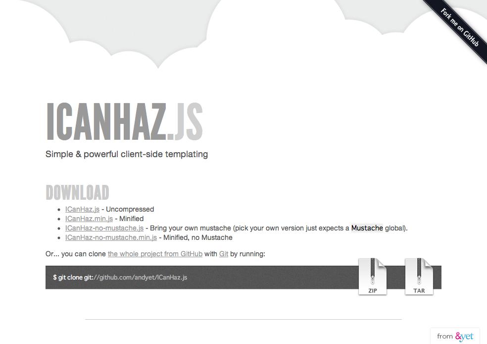Javascript icanhaz js javascript yama log for Window onload javascript